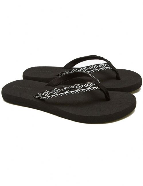 RIP CURL WOMENS FLIP FLOPS.FREEDOM BLACK ARCH SUPPORT THONGS SANDALS 8S CI1 348